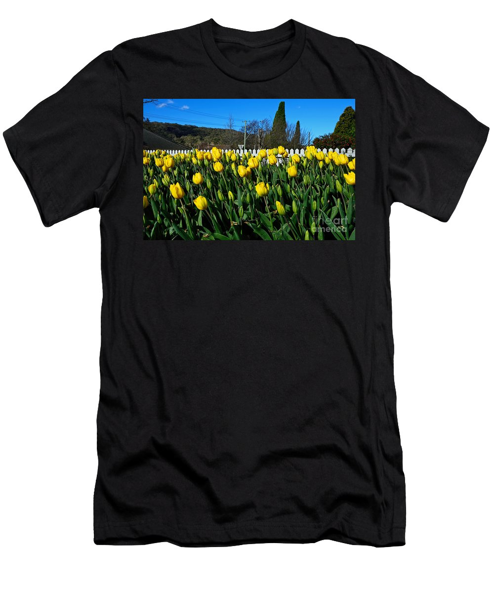 Photography Men's T-Shirt (Athletic Fit) featuring the photograph Yellow Tulips Before White Picket Fence by Kaye Menner