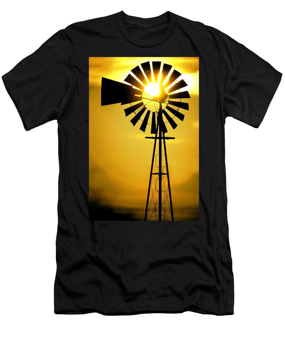 Windmill Men's T-Shirt (Athletic Fit) featuring the photograph Yellow Wind by Jerry McElroy