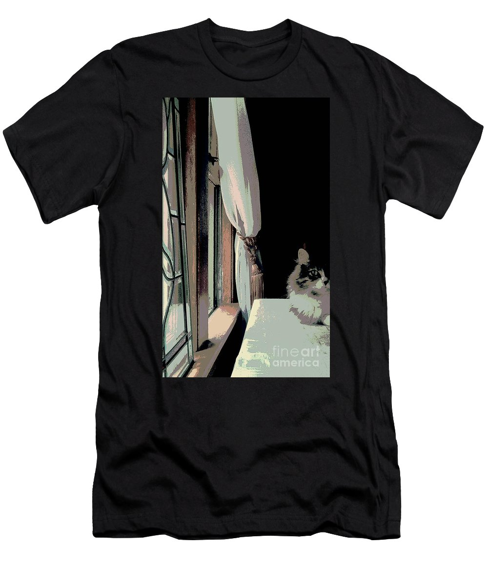 Maine Coon Men's T-Shirt (Athletic Fit) featuring the photograph Yes I Am The Master by Jacqueline McReynolds