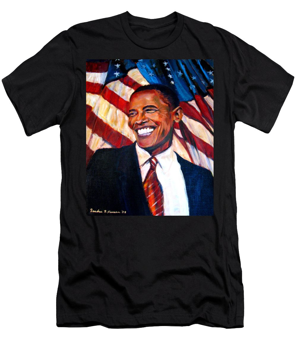 Barack Men's T-Shirt (Athletic Fit) featuring the painting Yes We Can by Art Nomad Sandra Hansen