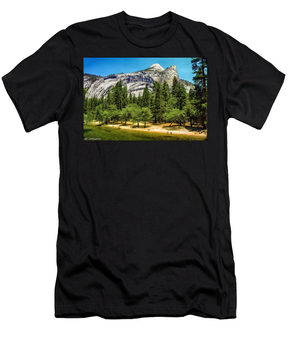 Beautiful Men's T-Shirt (Athletic Fit) featuring the painting Yosemite Valley Along Yosemite River Beach by Bob and Nadine Johnston
