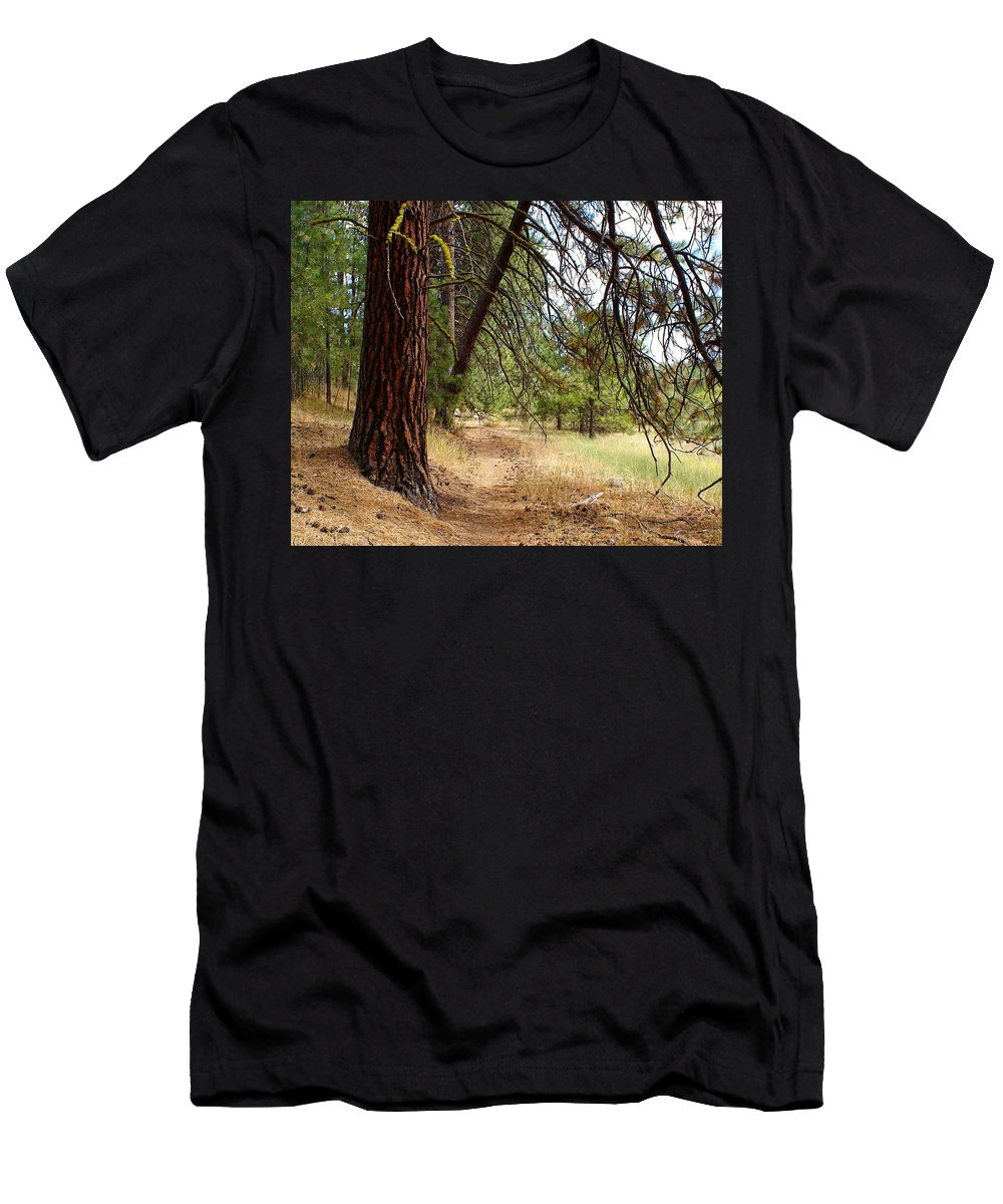 Paths Men's T-Shirt (Athletic Fit) featuring the photograph You Have To Go Somewhere To Get Anywhere by Ben Upham III