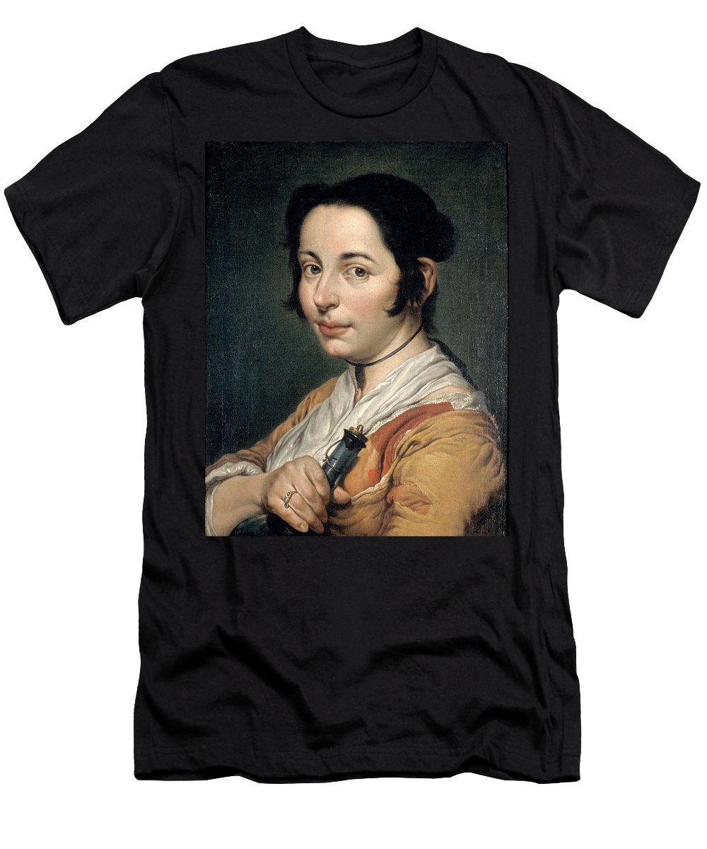 Giacomo Ceruti Men's T-Shirt (Athletic Fit) featuring the painting Young Peasant Woman Holding A Wine Flask by Giacomo Ceruti