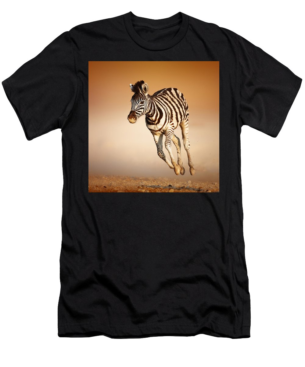 Wild Men's T-Shirt (Athletic Fit) featuring the photograph Zebra Calf Running by Johan Swanepoel