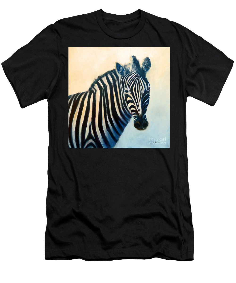 Zebra Men's T-Shirt (Athletic Fit) featuring the painting Zebra by Carolyn Jarvis