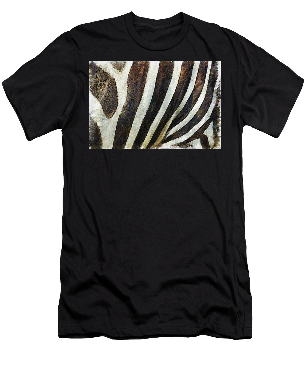 Zebra Men's T-Shirt (Athletic Fit) featuring the painting Zebra Texture by Inspirowl Design
