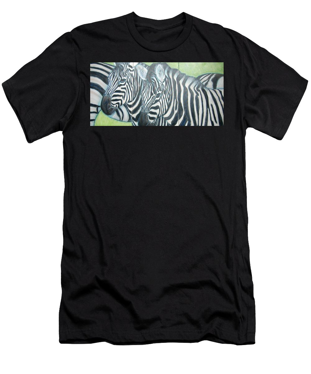 Zebra Men's T-Shirt (Athletic Fit) featuring the painting Zebra Triptych General by Isabelle Ehly