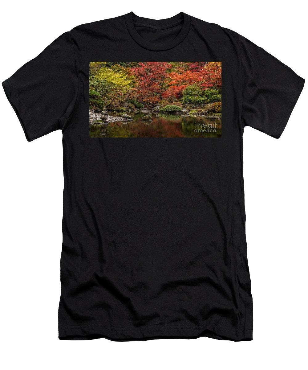 Garden Men's T-Shirt (Athletic Fit) featuring the photograph Zen Garden Reflected by Mike Reid