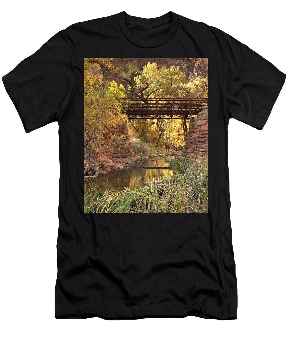 3scape Men's T-Shirt (Athletic Fit) featuring the photograph Zion Bridge by Adam Romanowicz