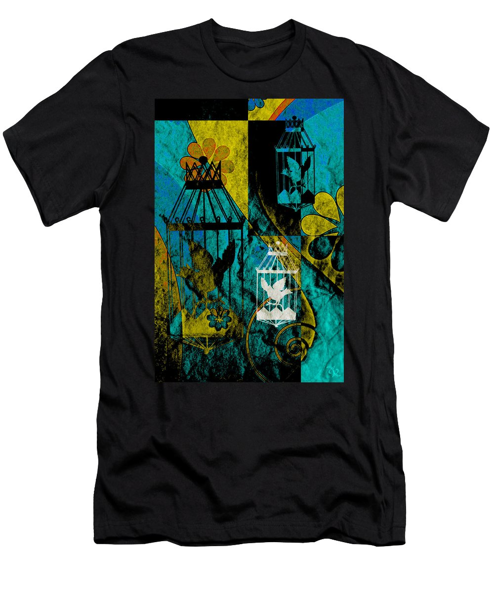 Silhouette Men's T-Shirt (Athletic Fit) featuring the mixed media 3 Caged Birds Grunge by Angelina Vick