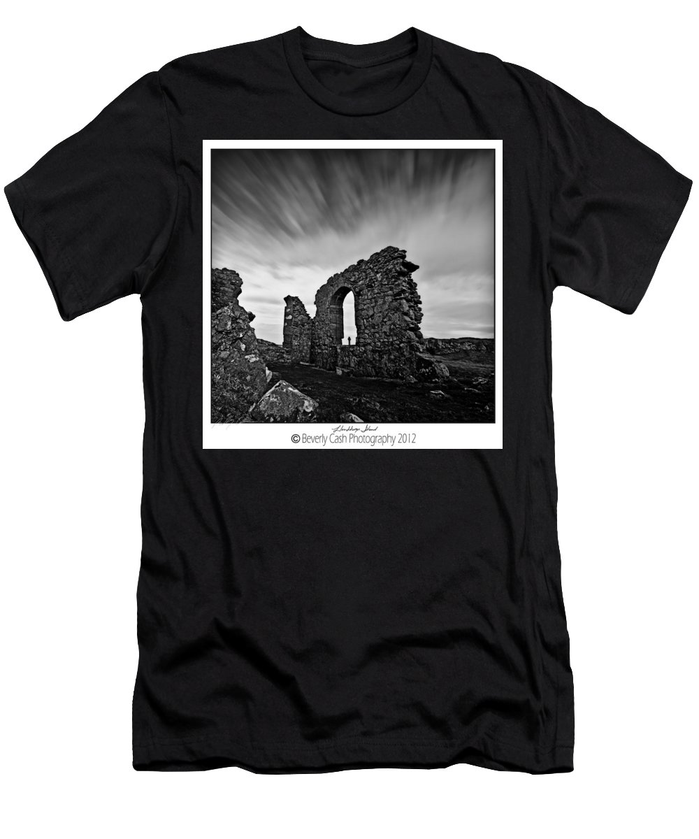 Church Men's T-Shirt (Athletic Fit) featuring the photograph Llanddwyn Island Ruins by Beverly Cash