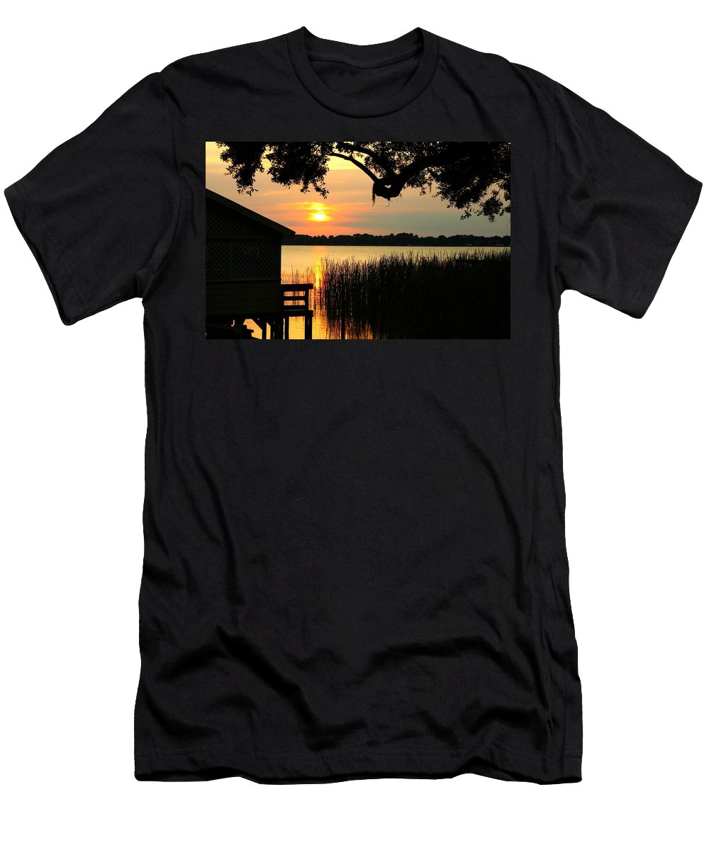 Sunset Men's T-Shirt (Athletic Fit) featuring the photograph ... On My Shoulder by Phil Cappiali Jr