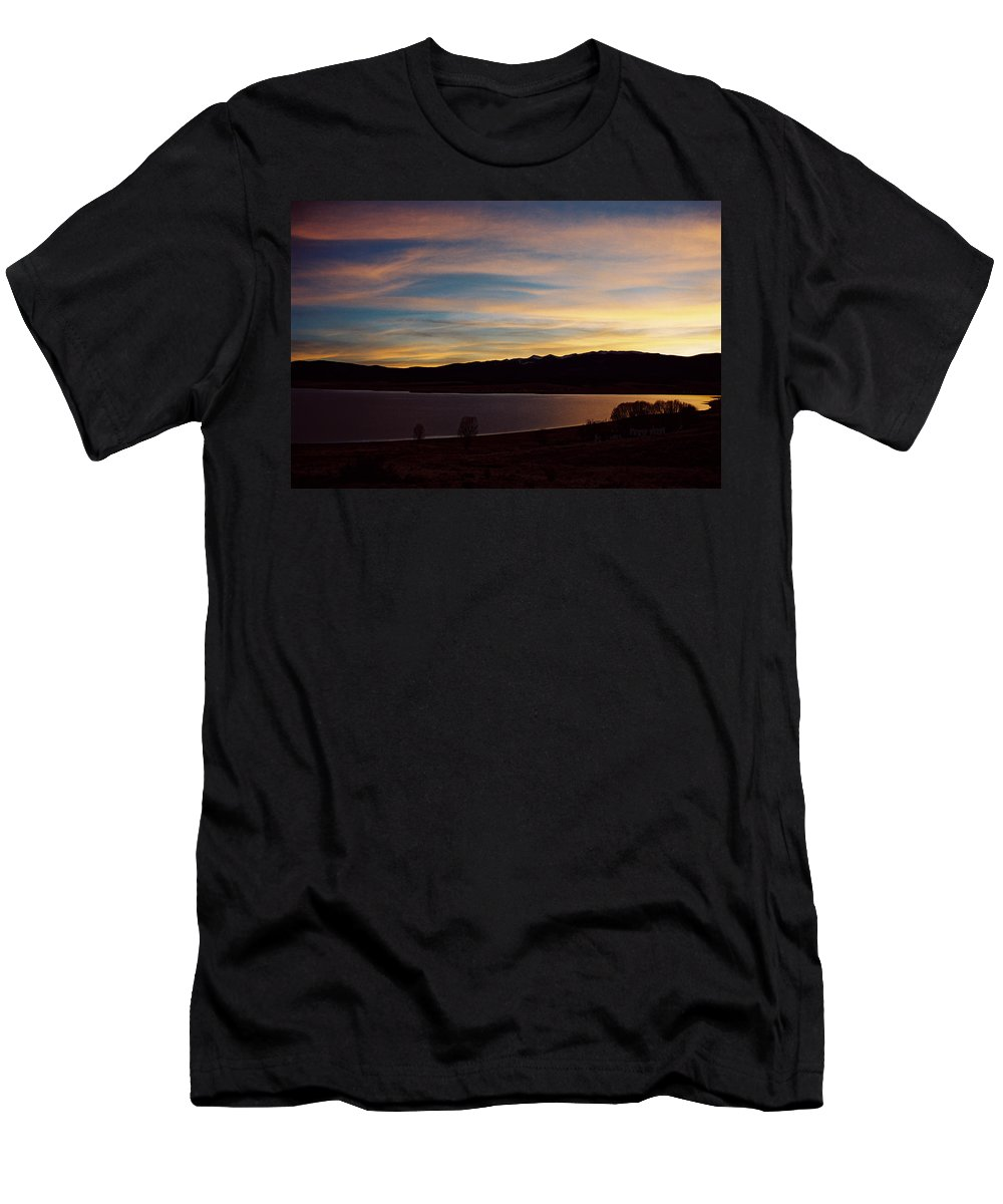 Eagle Nest Men's T-Shirt (Athletic Fit) featuring the photograph Sunset On Eagle Nest Lake by Ron Weathers