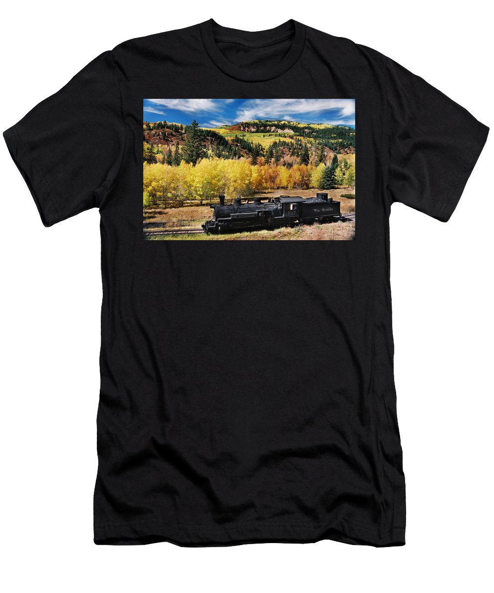 Chama Men's T-Shirt (Athletic Fit) featuring the photograph Train At Chama by Ron Weathers