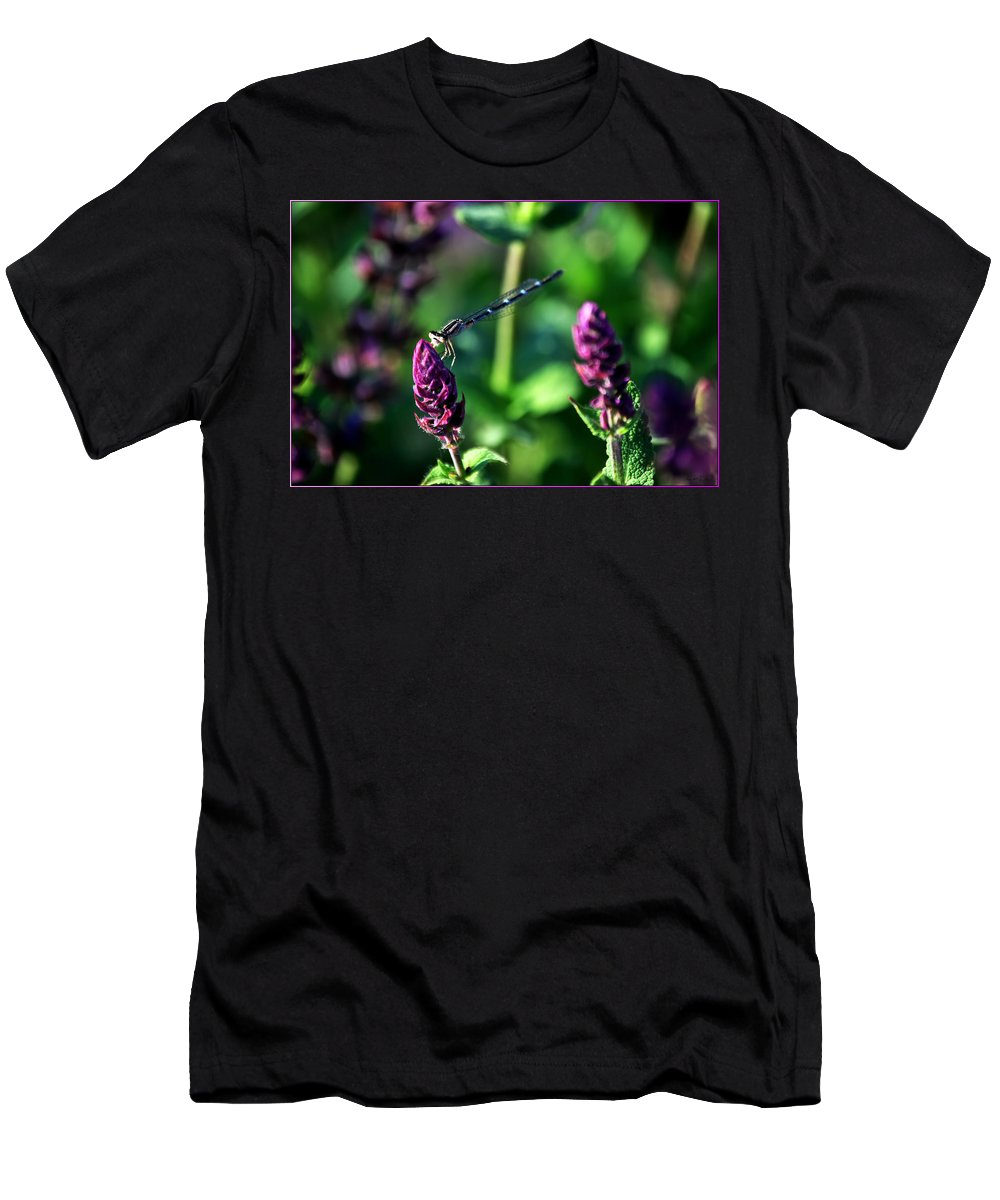 Men's T-Shirt (Athletic Fit) featuring the photograph 0004 Dragonfly Yoga On A Salvia Burgundy Candle by Michael Frank Jr