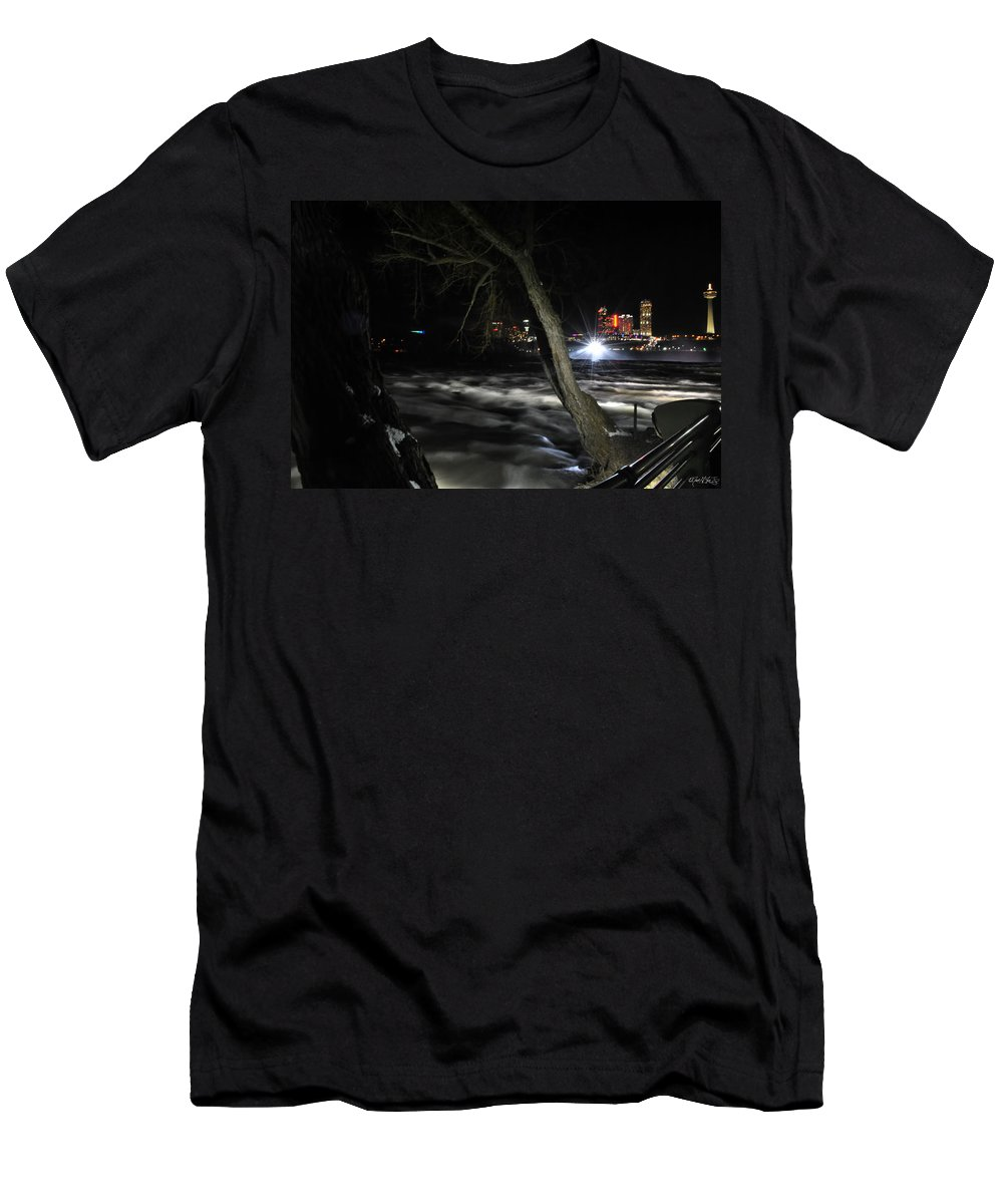 Men's T-Shirt (Athletic Fit) featuring the photograph 011 Niagara Falls Usa Rapids Series by Michael Frank Jr