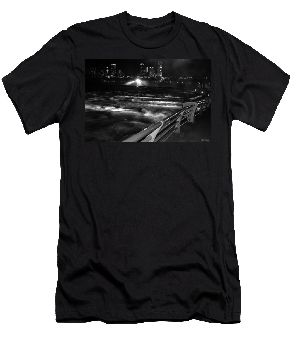 Men's T-Shirt (Athletic Fit) featuring the photograph 012 Niagara Falls Usa Rapids Series by Michael Frank Jr