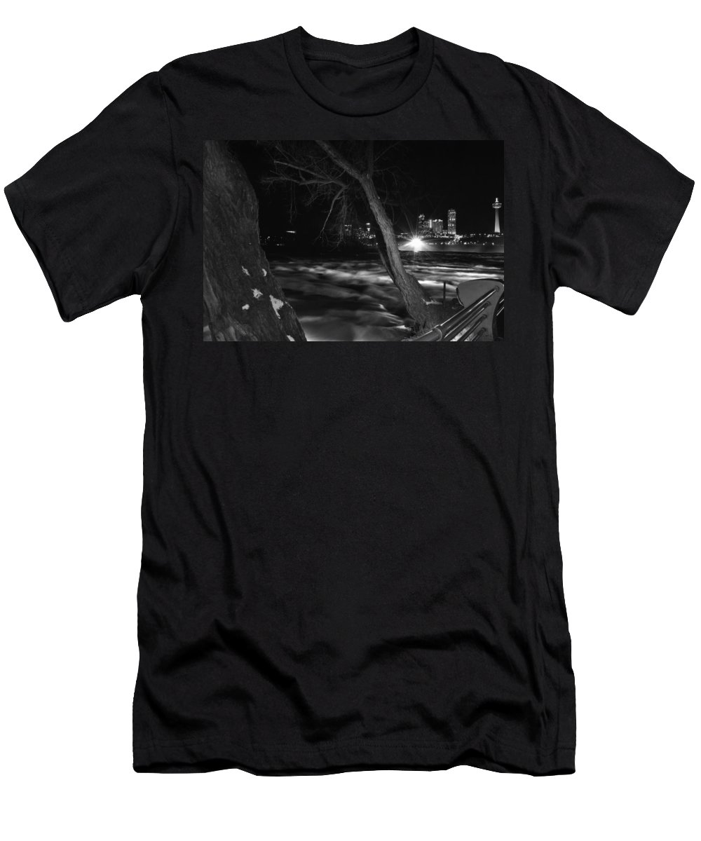Men's T-Shirt (Athletic Fit) featuring the photograph 07 Niagara Falls Usa Rapids Series by Michael Frank Jr