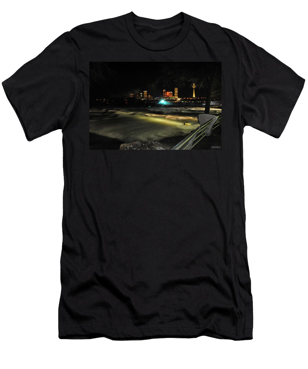 Men's T-Shirt (Athletic Fit) featuring the photograph 010 Niagara Falls Usa Rapids Series by Michael Frank Jr