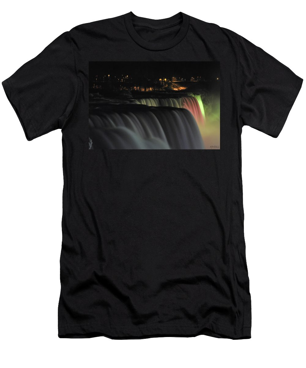 Men's T-Shirt (Athletic Fit) featuring the photograph 010 Niagara Falls Usa Series by Michael Frank Jr