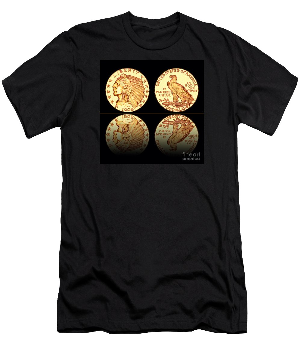 Coin Photographs Photographs Men's T-Shirt (Athletic Fit) featuring the photograph 1908 Indian Head Five Dollar Gold Coin by Jim Carrell