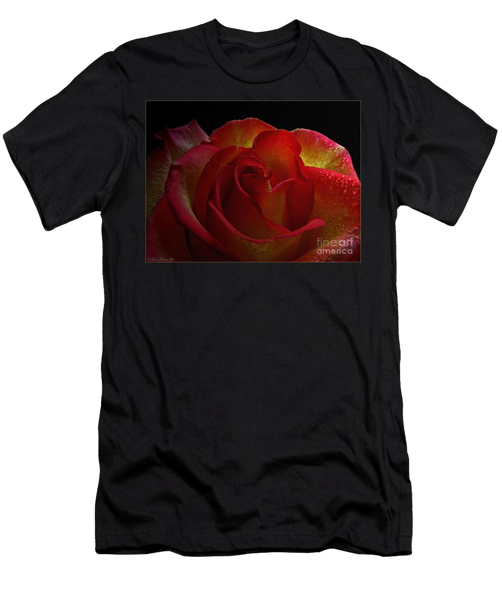Nature Men's T-Shirt (Athletic Fit) featuring the photograph Annaversary Rose I by Debbie Portwood