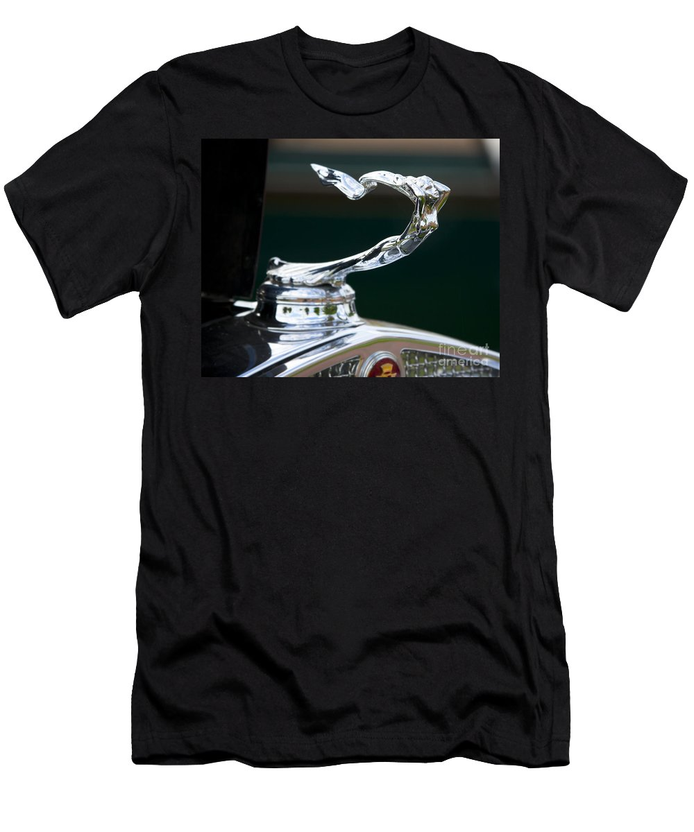 Hood Men's T-Shirt (Athletic Fit) featuring the photograph Cadillac Hood Ornament by Chris Dutton