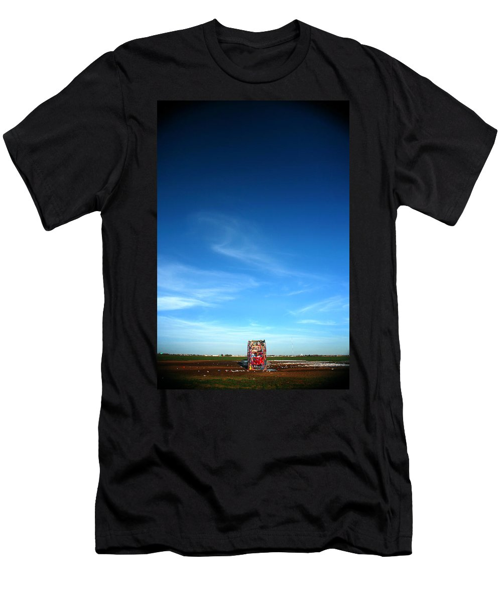Cadillac Ranch Men's T-Shirt (Athletic Fit) featuring the photograph Cadillac Ranch 4 by Lon Casler Bixby