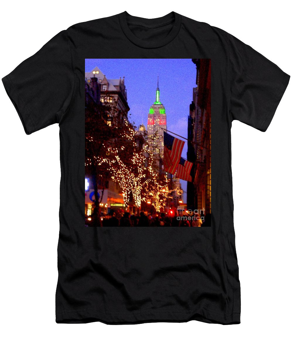 Xmas Men's T-Shirt (Athletic Fit) featuring the photograph Christmas In New York by Mark Gilman