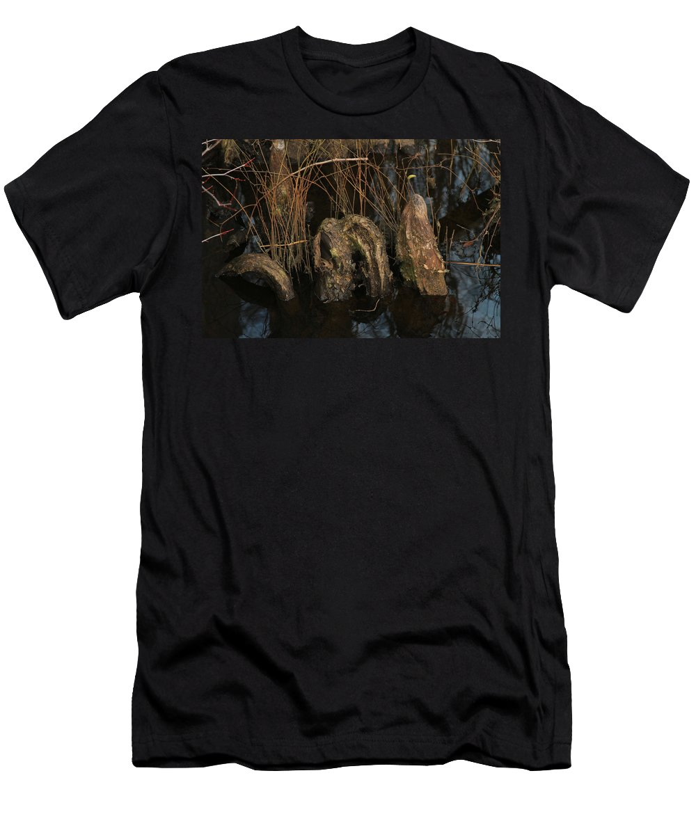Swamp Men's T-Shirt (Athletic Fit) featuring the photograph Cypress Knee Monster by Jennifer Stockman