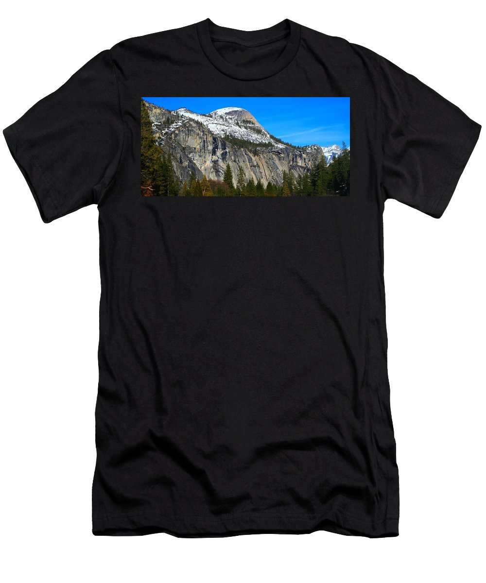 Yosemite National Park Men's T-Shirt (Athletic Fit) featuring the photograph El Captain's Neighbor by Phil Cappiali Jr