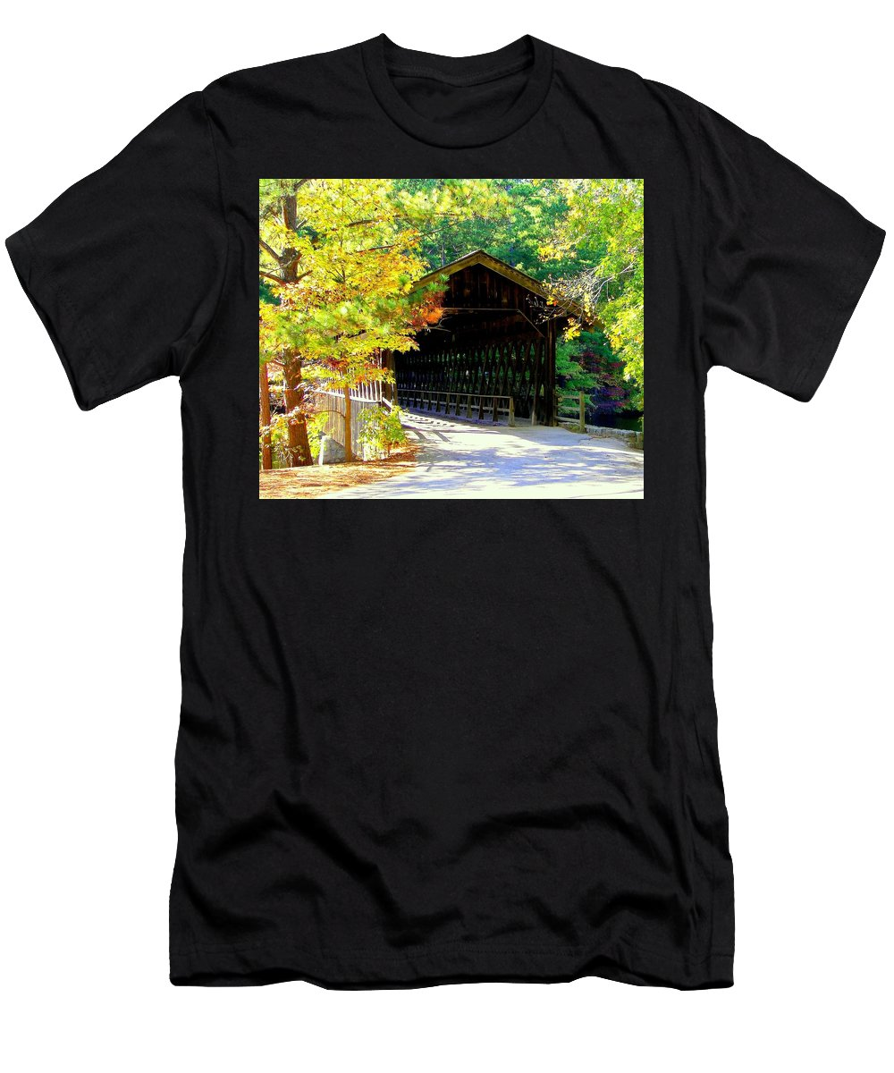 Covered Bridges Men's T-Shirt (Athletic Fit) featuring the photograph Enticement by Karen Wiles