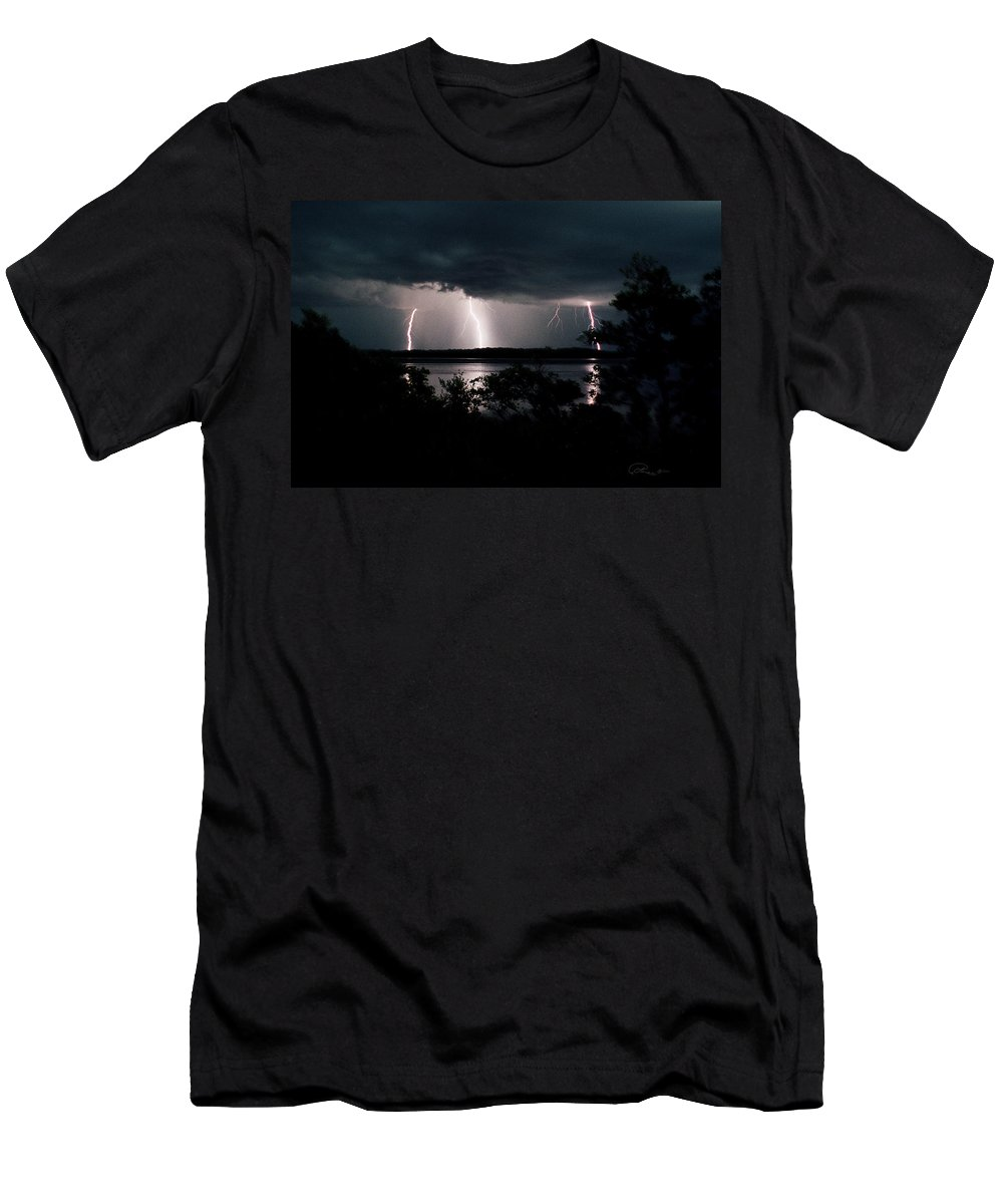 Lightning Men's T-Shirt (Athletic Fit) featuring the photograph Everglades Triple Threat by La Rae Roberts