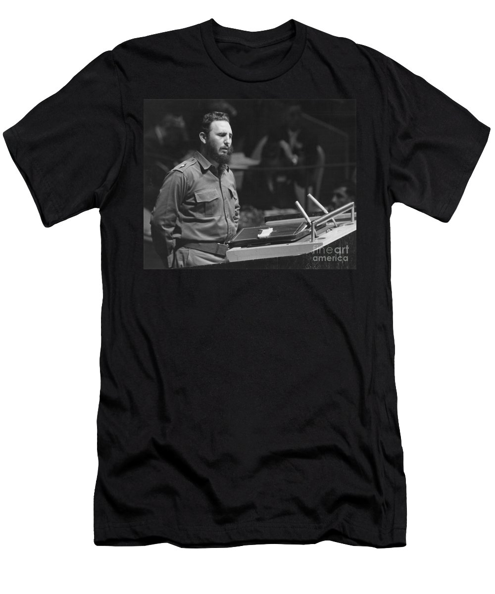 1960 Men's T-Shirt (Athletic Fit) featuring the photograph Fidel Castro (1926-) by Granger