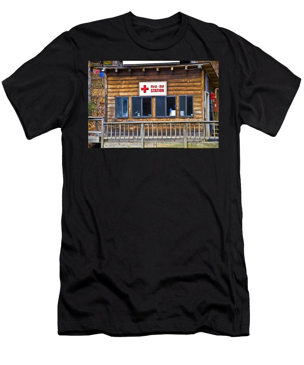 Building Men's T-Shirt (Athletic Fit) featuring the photograph First Aid Station by Susan Leggett