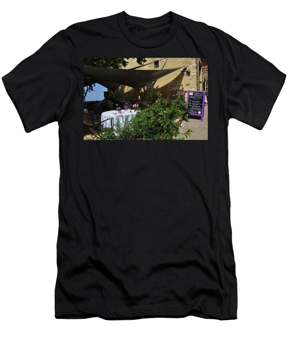 Advertisement Men's T-Shirt (Athletic Fit) featuring the photograph French Restaurant by Dany Lison