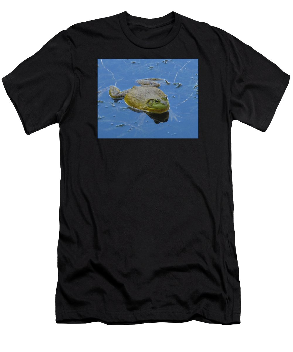 Nature Men's T-Shirt (Athletic Fit) featuring the photograph Frog In Pond by Jeannie Kohut