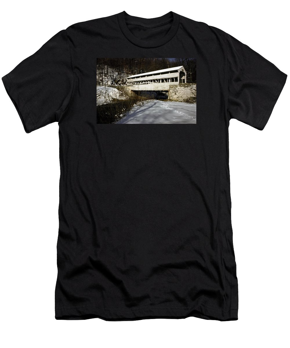 Knox Covered Bridge Men's T-Shirt (Athletic Fit) featuring the photograph Knox Covered Bridge by Sally Weigand