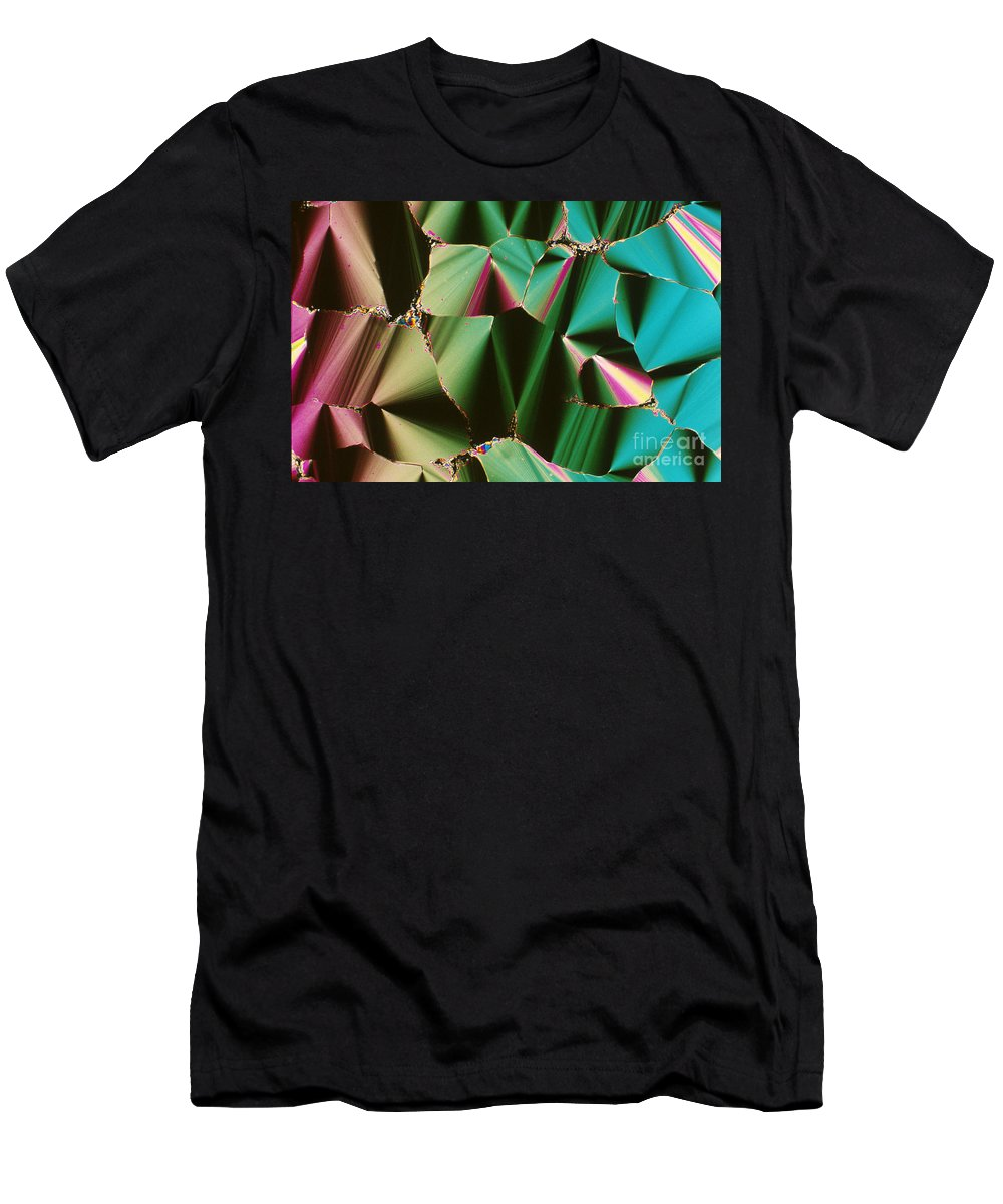 Transmitted Light Micrograph Men's T-Shirt (Athletic Fit) featuring the photograph Liquid Crystalline Dna by Michael W. Davidson