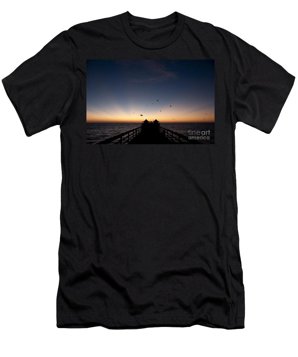 Naples Pier Men's T-Shirt (Athletic Fit) featuring the photograph Naples Pier Sunset by Art Whitton