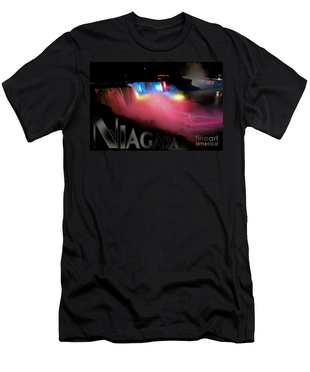 Niagara Falls Men's T-Shirt (Athletic Fit) featuring the photograph Niagara Falls Postcard by Syed Aqueel