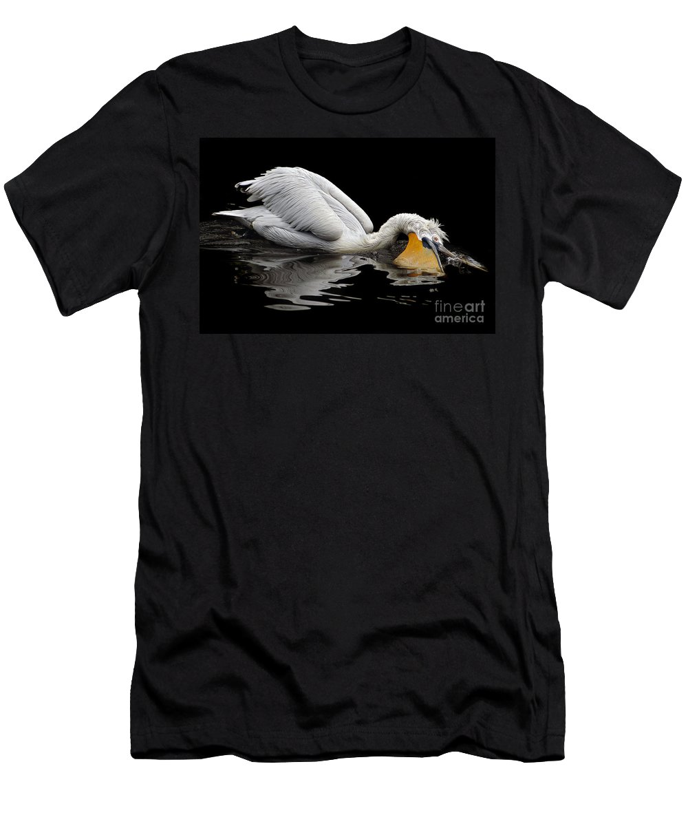 Dalmatian Pelican Men's T-Shirt (Athletic Fit) featuring the photograph Oral Hygiene by Michal Boubin