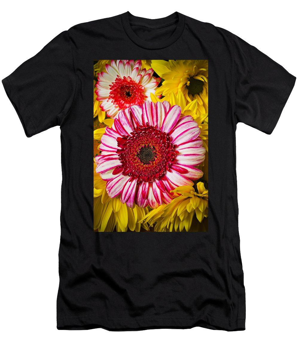 Pink Men's T-Shirt (Athletic Fit) featuring the photograph Pink And Yellow Mums by Garry Gay