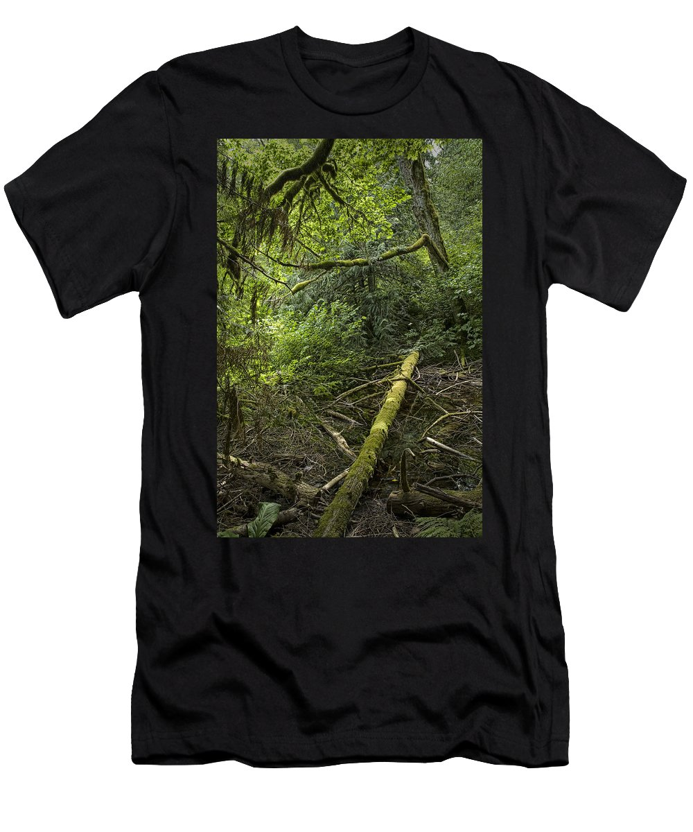Art Men's T-Shirt (Athletic Fit) featuring the photograph Rain Forest On Vancouver Island by Randall Nyhof