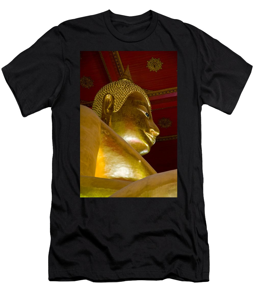 Ancient Men's T-Shirt (Athletic Fit) featuring the photograph Red Roofed Hall With Ornaments And A Tall Golden Buddha Statue by U Schade