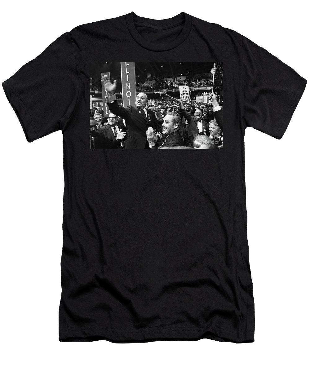 1968 Men's T-Shirt (Athletic Fit) featuring the photograph Richard J. Daley (1902-1976) by Granger