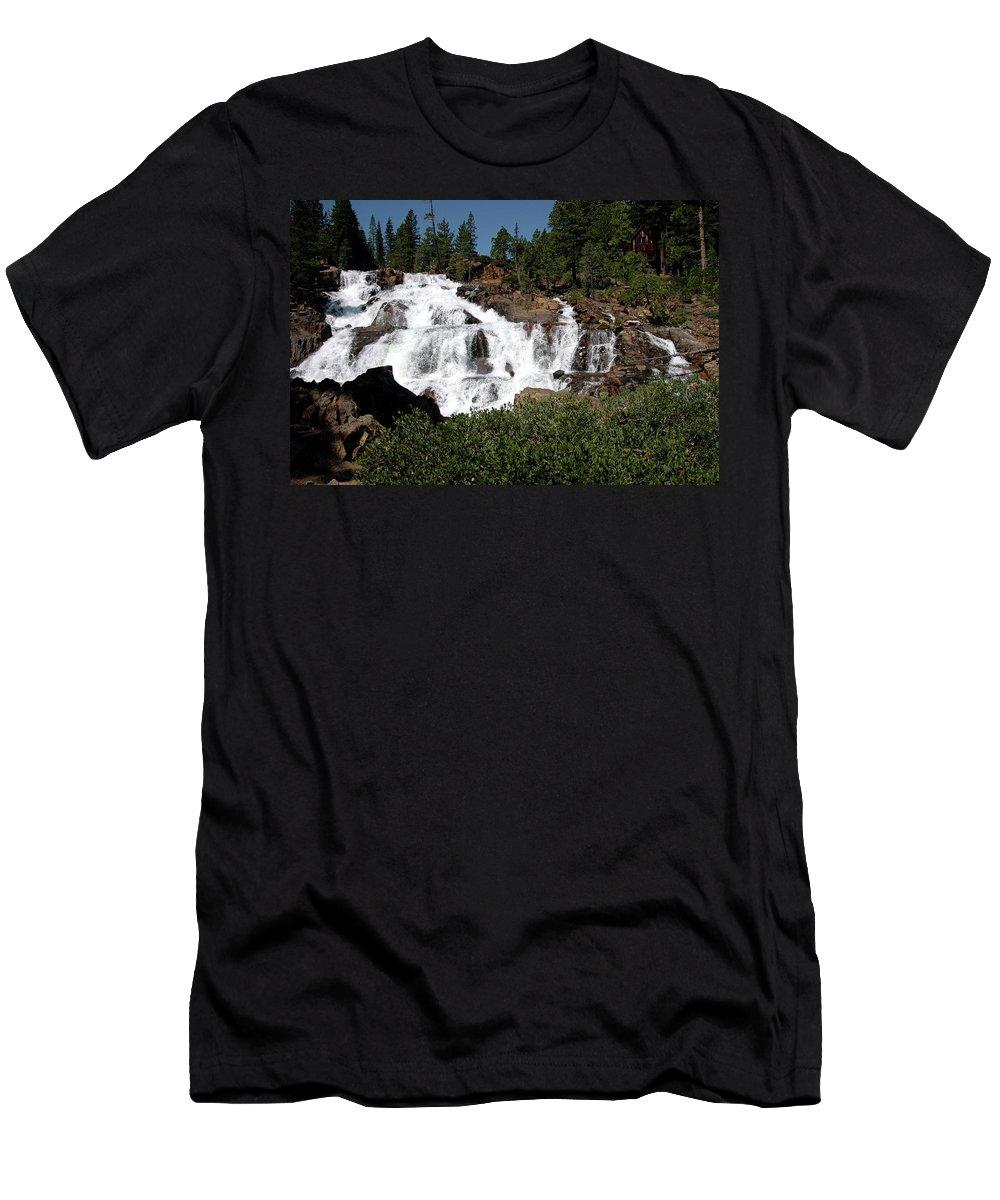Usa Men's T-Shirt (Athletic Fit) featuring the photograph Running Water Glen Alpine Falls by LeeAnn McLaneGoetz McLaneGoetzStudioLLCcom