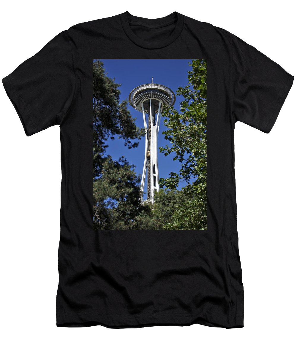 3scape Photos Men's T-Shirt (Athletic Fit) featuring the photograph Seattle Space Needle by Adam Romanowicz