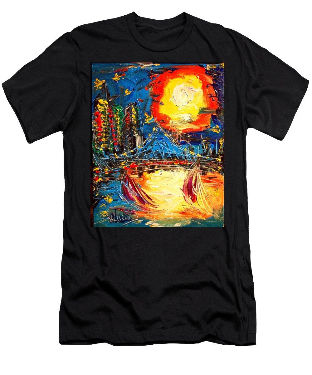 Men's T-Shirt (Athletic Fit) featuring the mixed media Sun City by Mark Kazav