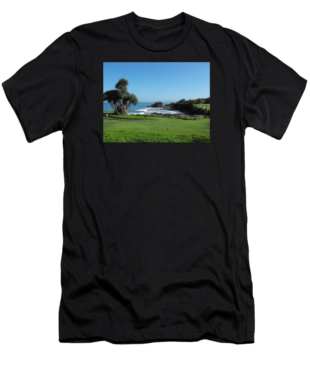 Tanah Lot Temple Men's T-Shirt (Athletic Fit) featuring the photograph Tanah Lot Temple by Marlene Challis